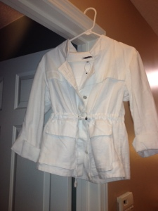 Brand New Calvin Klein three quarters coat! Perfect white for spring! Only $9.99! The tag from the boutique that it was at says $129.50! That's just crazy!